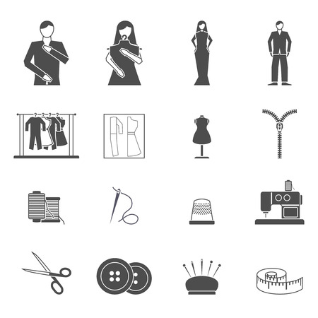 tailored: Black and white clothes and fashion designer tools and materials flat icon set isolated vector illustration Illustration
