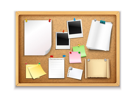 cork sheet: Cork board with pinned paper notepad sheets and photos realistic vector illustration