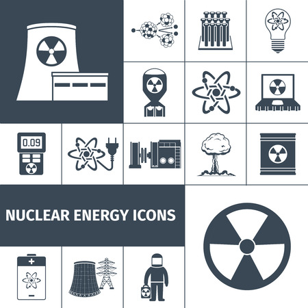 fission: Nuclear energy plant products black icons set with mushroom cloud and radioactivity sign abstract isolated vector illustration