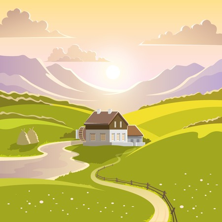 Mountain landscape with summer sun green meadow and country house vector illustration