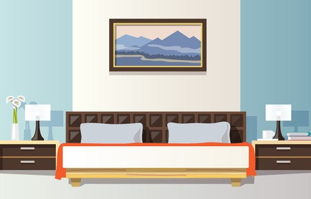 bedrooms: Bedroom interior with flat bed and picture frame vector illustration
