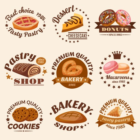 Pastry desserts emblems set with donuts macaroons and cookies isolated vector illustration