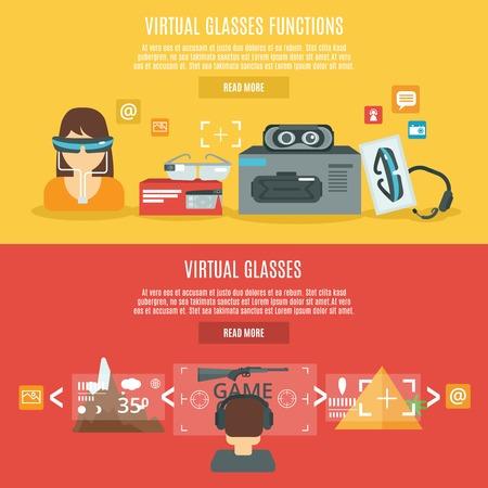 optics: Virtual glasses cyberspace headset optics horizontal banner set isolated vector illustration