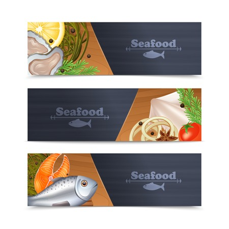 caviar: Seafood restaurant menu horizontal banner set with fish and spices isolated vector illustration