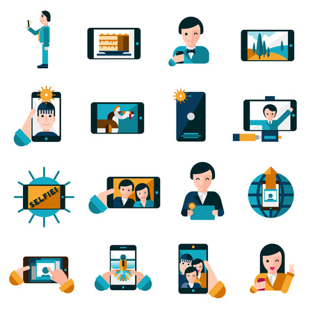 effect: Mobile photo and selfie with smartphone icons set flat isolated vector illustration Illustration