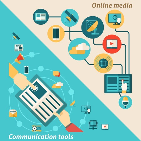dissemination: Media corner set with online communication tools elements isolated vector illustration
