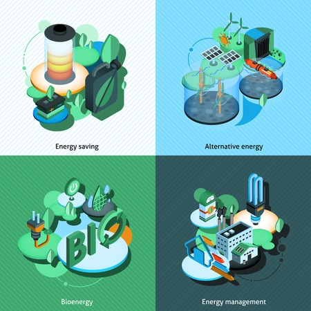 Green energy design concept set with alternative bioenergy management isometric icons isolated vector illustration Vector