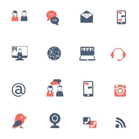 社会的ネットワークとオンライン コミュニケーション ノート パソコンとスマート フォンの黒赤アイコン設定フラット分離ベクトル図  イラスト・ベクター素材