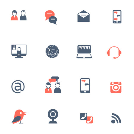 Social network and online communication with laptops and smartphones black red icons set flat isolated vector illustration