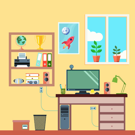 study table: Student or freelance worker workspace in room interior flat vector illustration