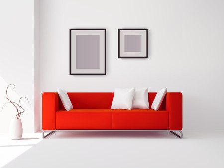 Realistic red sofa with white pillows and frames and pot with plant vector illustration Иллюстрация