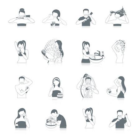 aseo personal: Higiene iconos conjunto negro con cuarto de baño y sanitarios símbolos aislados ilustración vectorial
