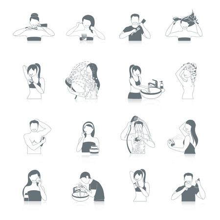 Hygiene pictogrammen zwart set met geïsoleerde badkamer en gezondheidszorg symbolen vector illustratie