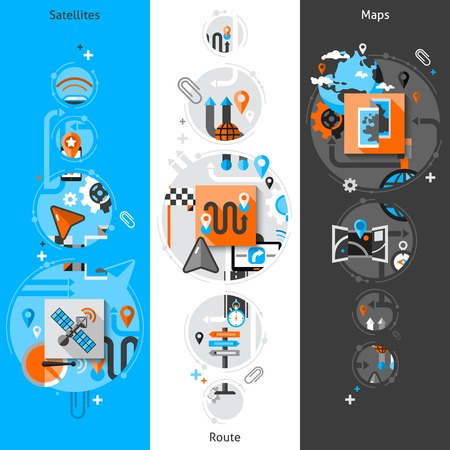 global positioning system: Navigation vertical banner set with satellite route and maps elements isolated vector illustration