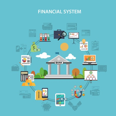 Finance systeem concept met bank en investeringen vlakke pictogrammen vector illustratie