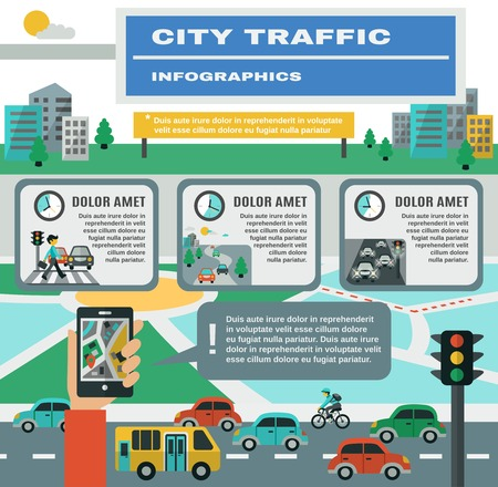 City traffic infographics set with cars gps map symbols vector illustration Illustration