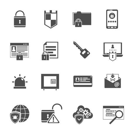 sistemas: Iconos negros de seguridad de software antivirus escudo Computer establecidos con cerradura y llave símbolos abstracto aislado ilustración vectorial