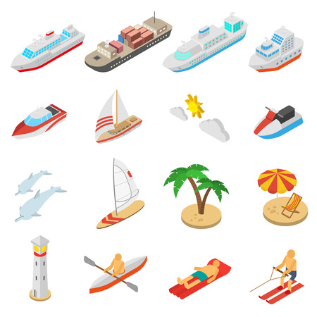 cartoon bed: Ships yachts boats and beach vacation isometric icons set isolated vector illustration