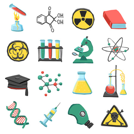chemistry science: Laboratory chemistry science education icons set isolated vector illustration