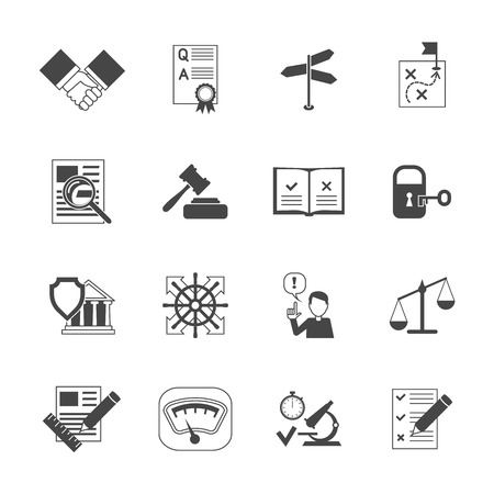 reviewing: Legal compliance terms abidance work policy black icons set isolated vector illustration