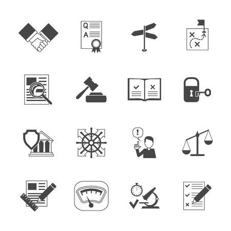 Wettelijke naleving termen abidance werk beleid zwarte pictogrammen set geïsoleerde vector illustratie