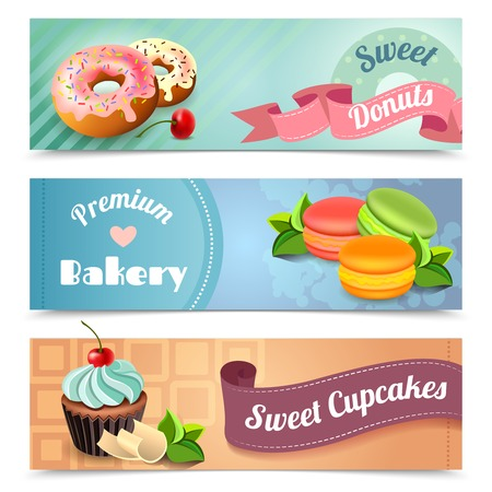 cupcakes isolated: Bakery horizontal banners set with sweet donuts and cupcakes elements isolated vector illustration Illustration