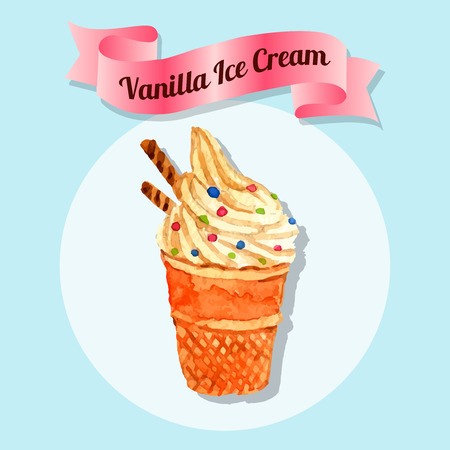 soft ice: Delicious vanilla flavored whipped colorful sprinkled ice cream in waffle cone cup watercolor sketch abstract vector illustration