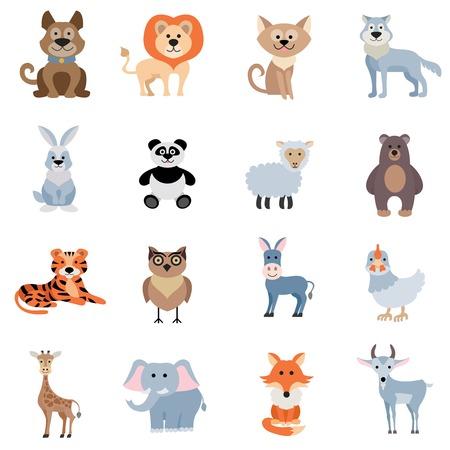 Wild and home animals set of donkey fox sheep rabbit isolated vector illustration
