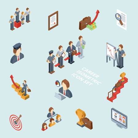 business briefcase: Career isometric set with 3d cv success stairway business briefcase isolated vector illustration
