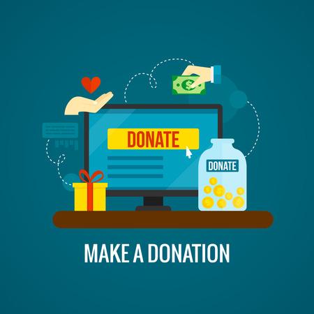 寄付金と緑の背景の平面ベクトル図にラップトップ アイコンと慈善オンライン コンセプト  イラスト・ベクター素材