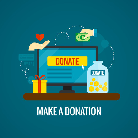 charity: Donations and charity online concept with laptop icon on green background flat vector illustration