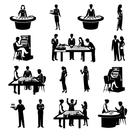 black people: Black people silhouettes gambling in casino icons set isolated vector illustration Illustration