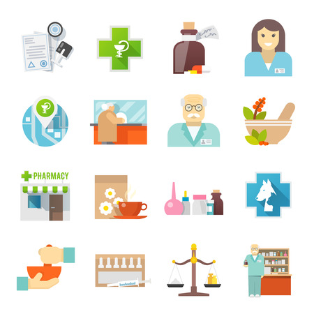 pharmacy: Pharmacy and veterinary chemist shop flat icons set with pills and herbs mortar abstract  isolated vector illustration Illustration