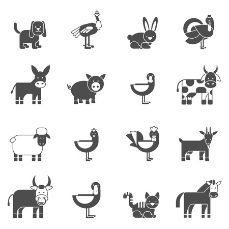 sheep dog: Domestic animals black icons set with cow goose pig goat isolated vector illustration