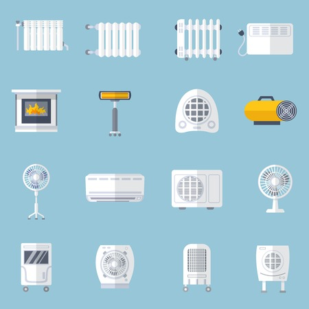 air flow: Heating and cooling conditioning flat icons set isolated vector illustration