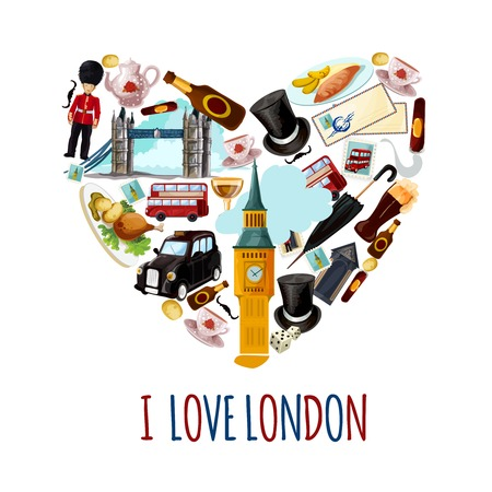 english bus: Londres affiche touristique avec des sites touristiques de la bande dessinée à coeur vecteur de forme illustration