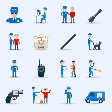 guardia de seguridad: Agente de seguridad de guardia iconos de personajes de dibujos animados de servicios establecidos con patrullaje y detenci�n deberes abstracto aislado ilustraci�n vectorial Vectores