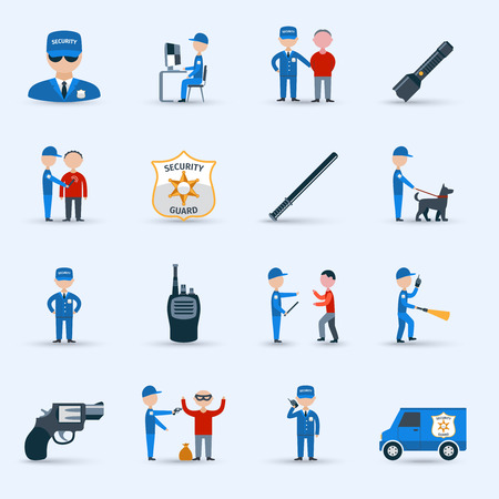 security monitor: Security guard officer service cartoon character icons set with patrolling and detention duties  abstract isolated vector illustration Illustration