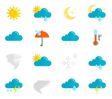 meteo: Previsioni meteorologiche e simboli meteorologia icone piatto insieme isolato illustrazione vettoriale