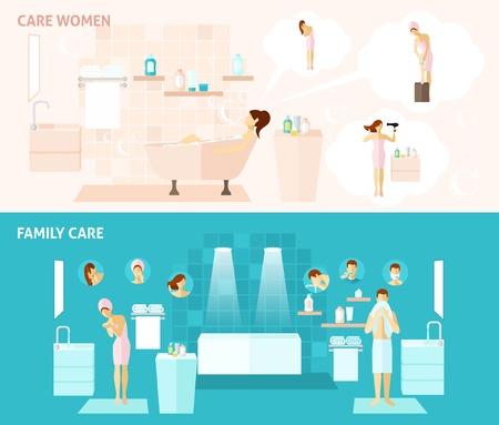 higiene: Mujer e higiene familiar y cuidar banners horizontales planas establecer ilustración vectorial Vectores