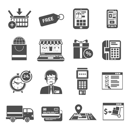 ecommerce icons: Online store purchase  and e-commerce icons black set isolated vector illustration