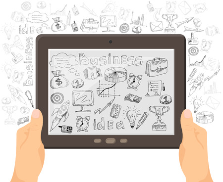 foreground: Business ideas sharing with mobile technology concept black icons outlined composition with foreground tablet  abstract vector illustration