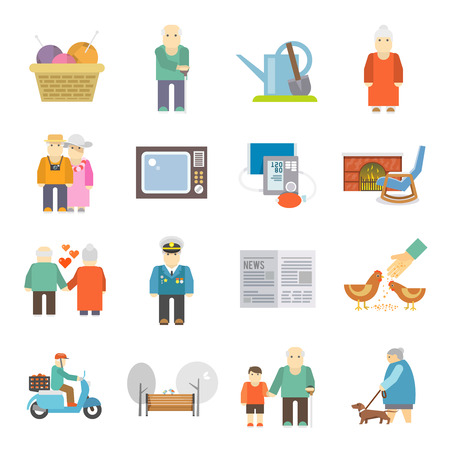 senior health: Retired couple of aged pensioners with pets life style concept flat icons set abstract isolated vector illustration