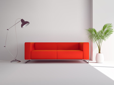 vector lamp: Realistic red sofa with floor lamp and palm tree in pot interior vector illustration