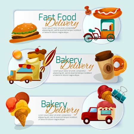 Food delivery horizontal banner set with cartoon trucks isolated vector illustration Vector