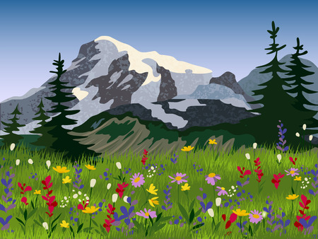 tree service pictures: Quality seasonal landscape wallpaper summer meadow with mountain range icy peaks background print picturesque abstract vector illustration Illustration