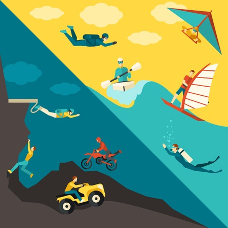Extreme sports corner set with summer outdoor adventure activity isolated vector illustration