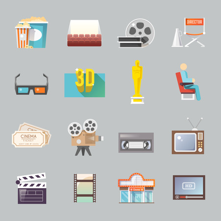 polarized: Movie theater cinema entrance retro tickets and 3d polarized glasses flat icons collection  abstract isolated vector illustration