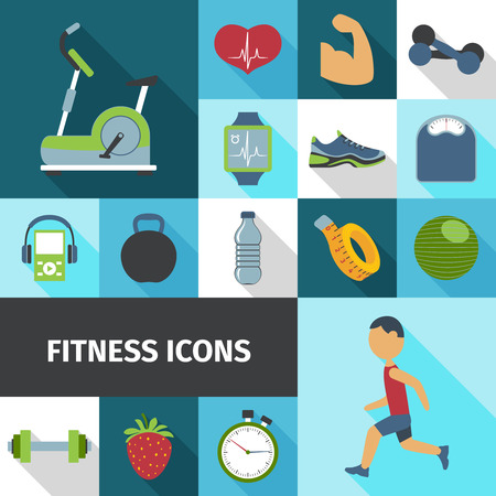 stationary bicycle: Fitness health life style activities and accessories flat icons set with stationary bicycle abstract isolated vector illustration