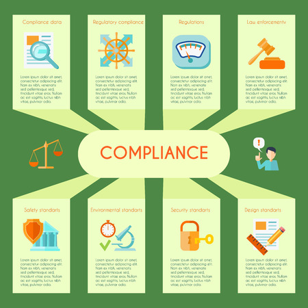 compliance: Compliance infographics set with law protection and deal security symbols vector illustration Illustration